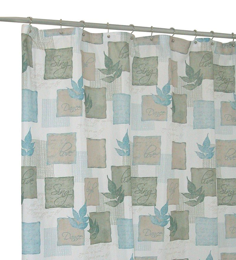 Machine Washable Leaf Pattern Polyester Fabric Shower Curtain ...