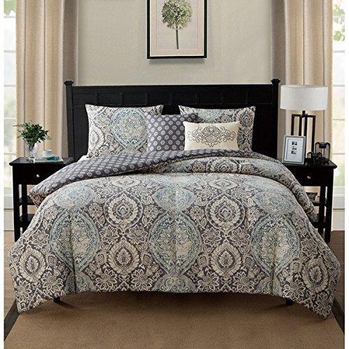 Best 5 Piece Blue Medallion Comforter Twin Xl Set For Master 640 x 480