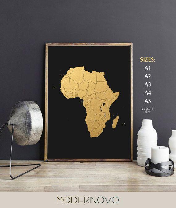 Afrique Carte Art Affiche Minimaliste Africain Art Africain African Wall Art Map Wall Art African Art