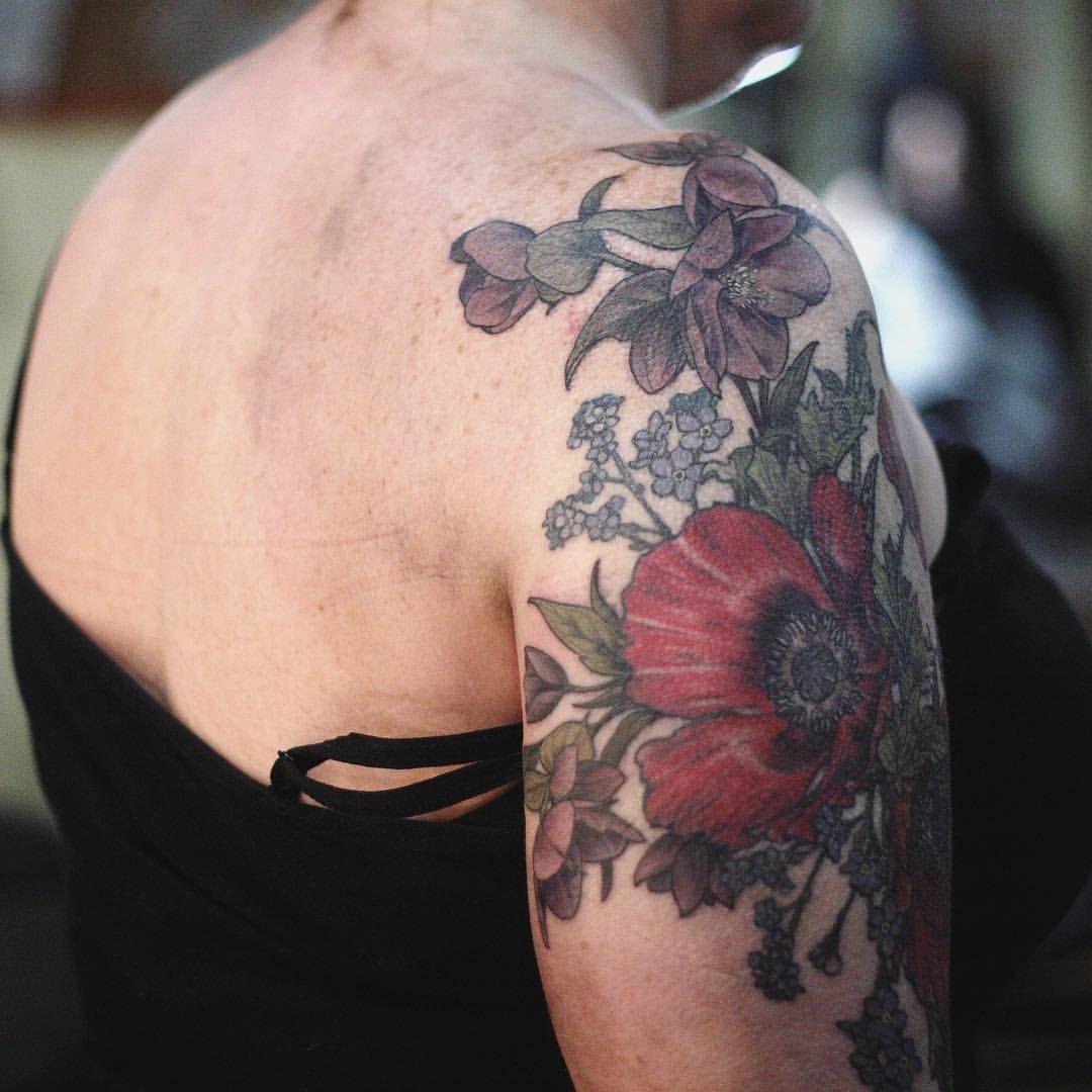 California poppy hellebores tattoos tattoo artists