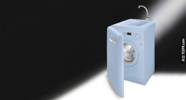 22. 洗衣機上面一樣也可以來個洗手臺!