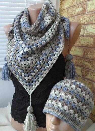 PAtron para tejer gorro y bufanda a crocher en hilo de color gris ...