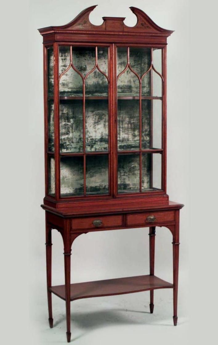 English Sheraton Hepplewhite Cabinet Case Piece Display Cabinet  # Muebles Estilo Hepplewhite