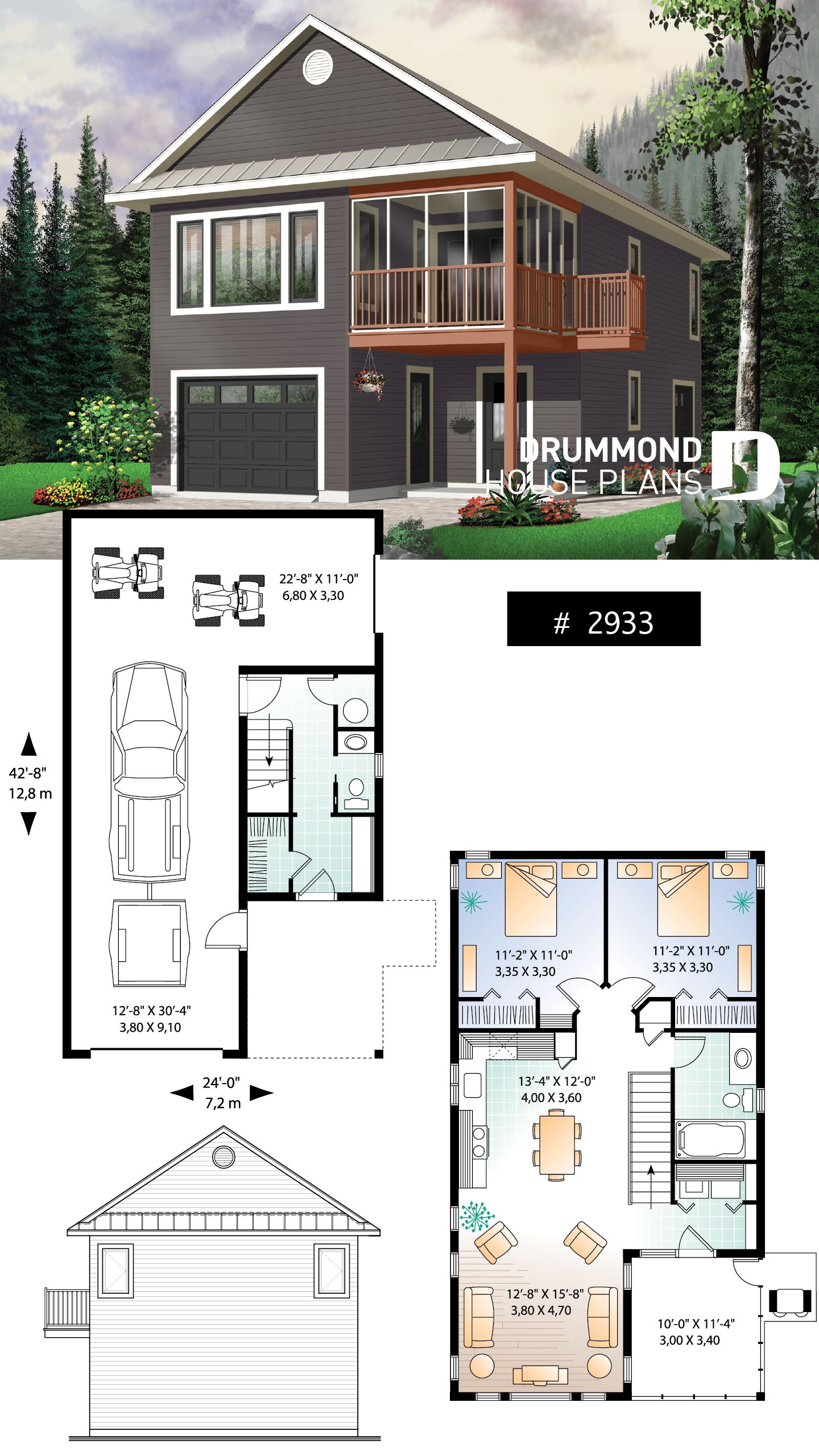 Discover The Plan 2933 The Murphy Which Will Please You For Its 2 Bedrooms And For Its Cottage Chalet Cabin Styles Carriage House Plans Garage Apartment Plans Garage Apartment Floor Plans