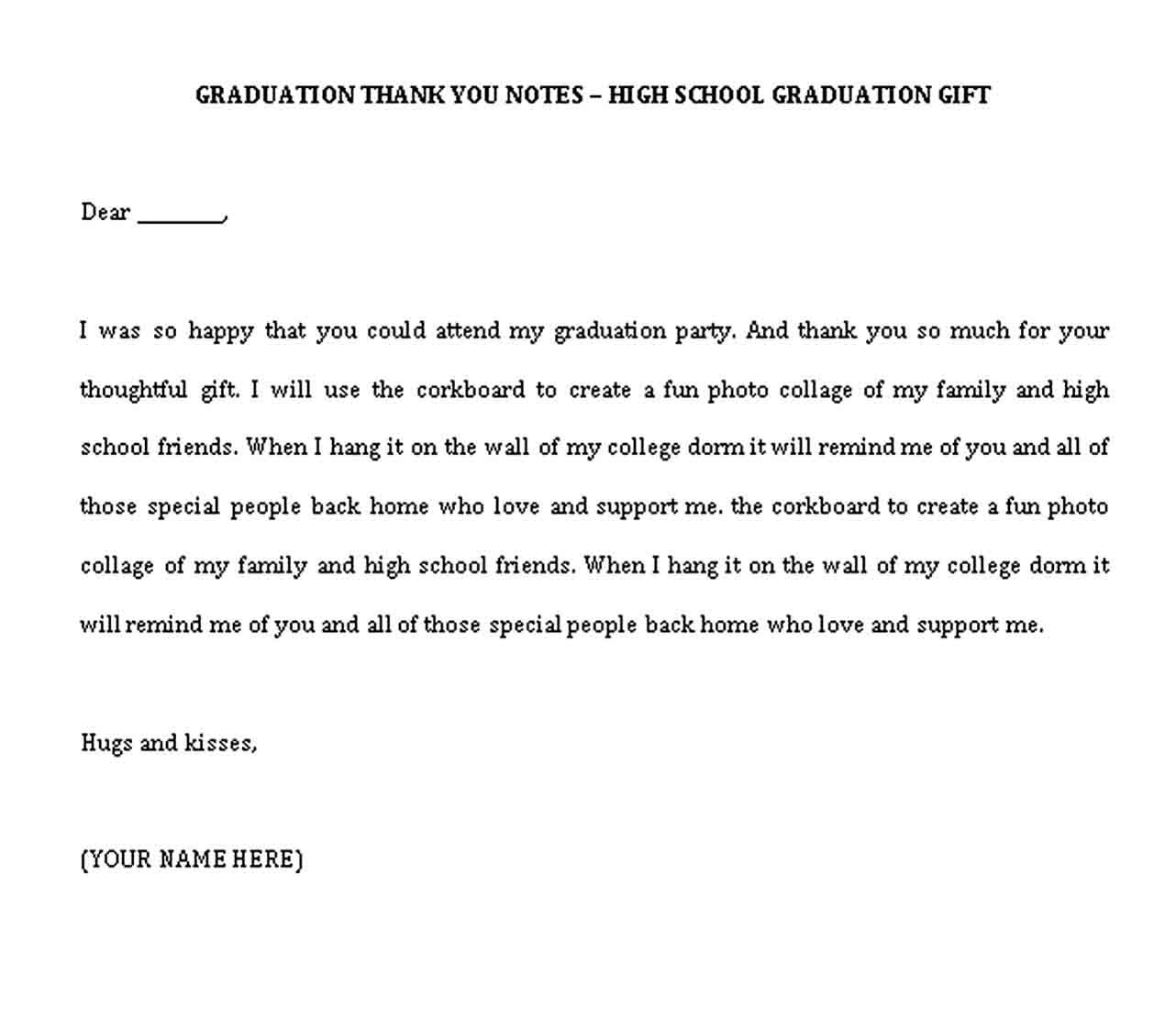 Graduation Thank You Note Thank You Card Examples Thank You Note Template Thank You Notes