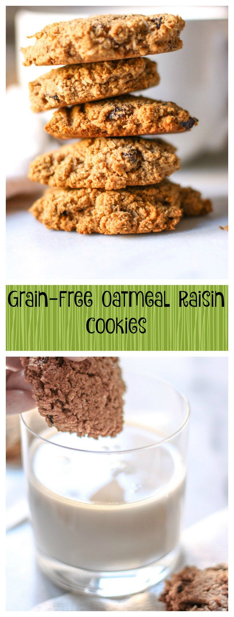 Grain-Free Oatmeal Raisin Cookies. I promise you that no one will know this recipe is grain-free.  The texture and taste of these cookies are exactly the same as traditional one! It's like magic!