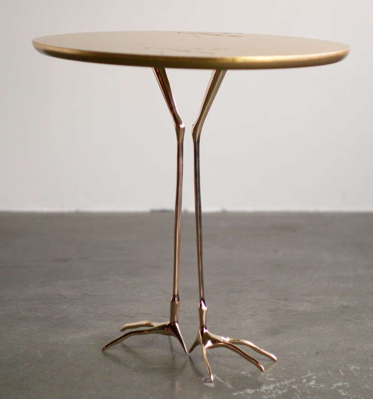 Marvelous Traccia Gold Leaf Bird Leg Side Table By Meret Oppenheim Uwap Interior Chair Design Uwaporg