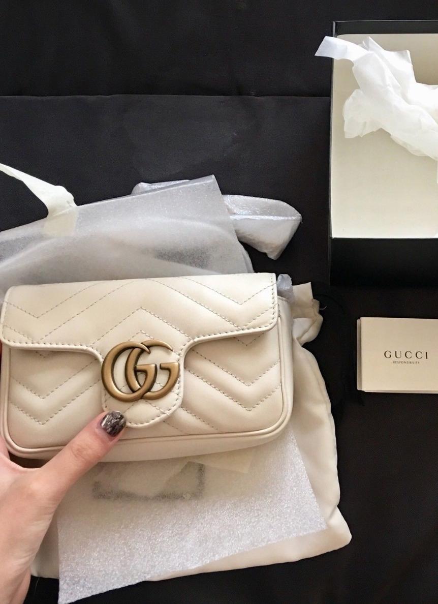 80bc2863 #GUCCI GG Marmont matelassé leather super mini bag Beige mini gucci bag # marmont #gg #medium #matelasse #shoulderbag