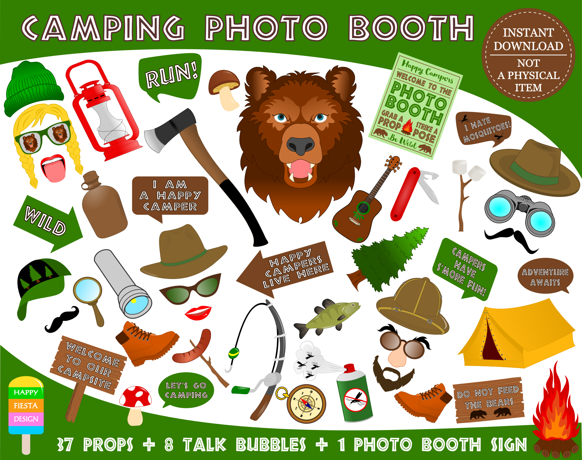 Printable Camping Photo Booth Props/ Camper Party Photo