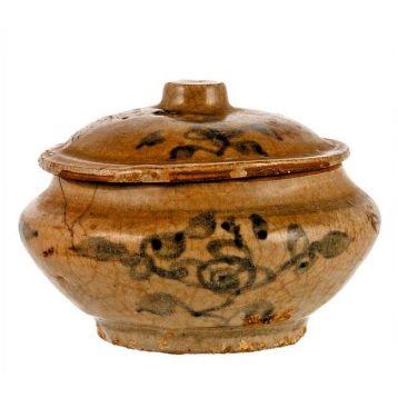 PEQUEÑO TARRO EN CERÁMICA CHINA. S. XV  Dinastía Ming.Medidas: 6 x 11 cm.