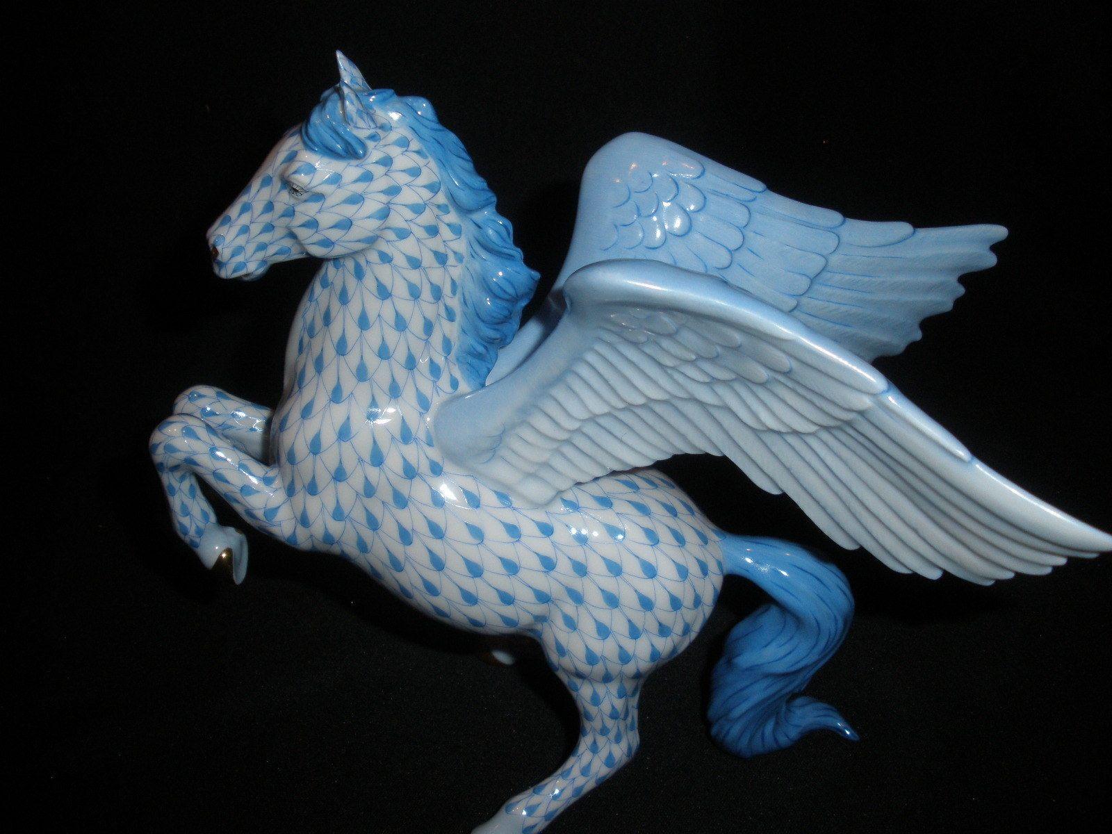 Herend Large Pegasus Winged Horse Figurine Blue Fishnet
