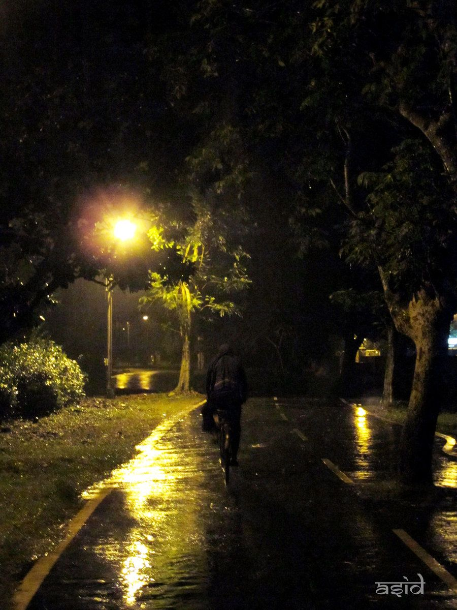Setting Sun Spotlights Solitary >> Rain Lights And A Lonely Night Enjoyment Of Rain Rain Night