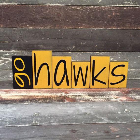 Home Decor Wood Blocks Go Hawks Iowa Hawkeyes By 417designsia