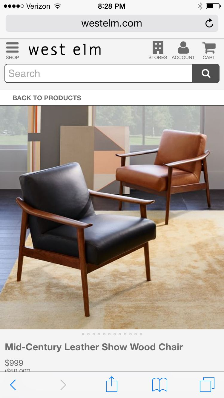 Mid Century Modern Leather Accent Chair Used Covers Wedding For Sale From West Elm Ideas The House Pinterest Armchair Chairs