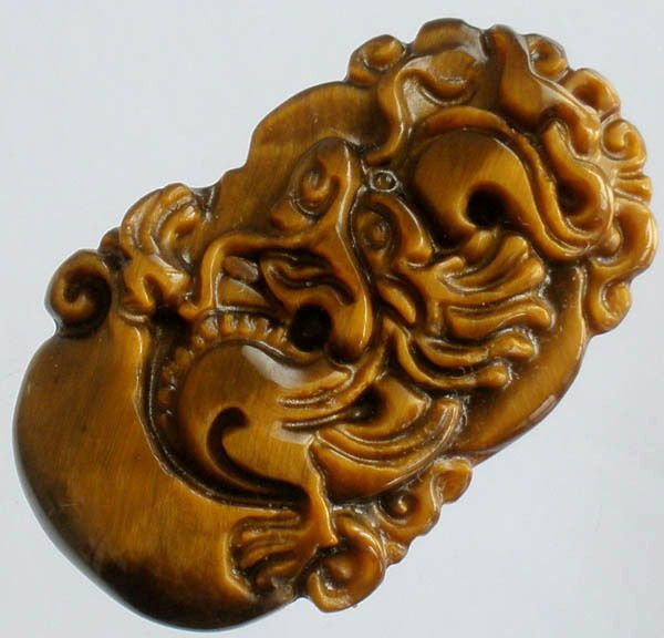 Charming Natural Tiger-eye Gemstone Hand Carved Vivid Dragon YuanBao Amulet Gift #handcarved