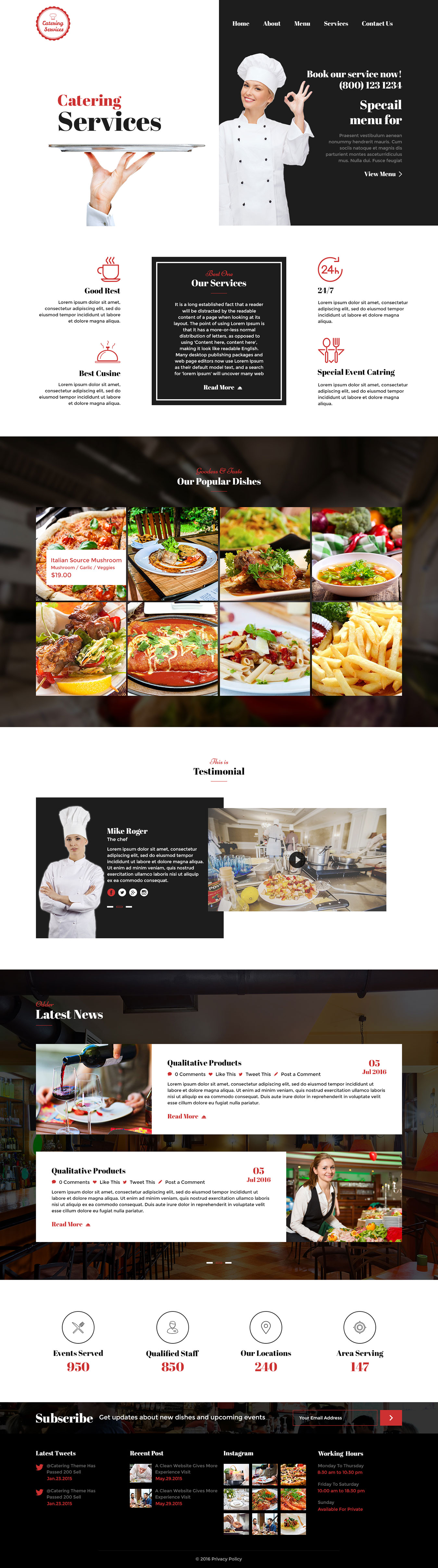 Catering - Chef and Food Restaurant Template | Chef Portfolio ...