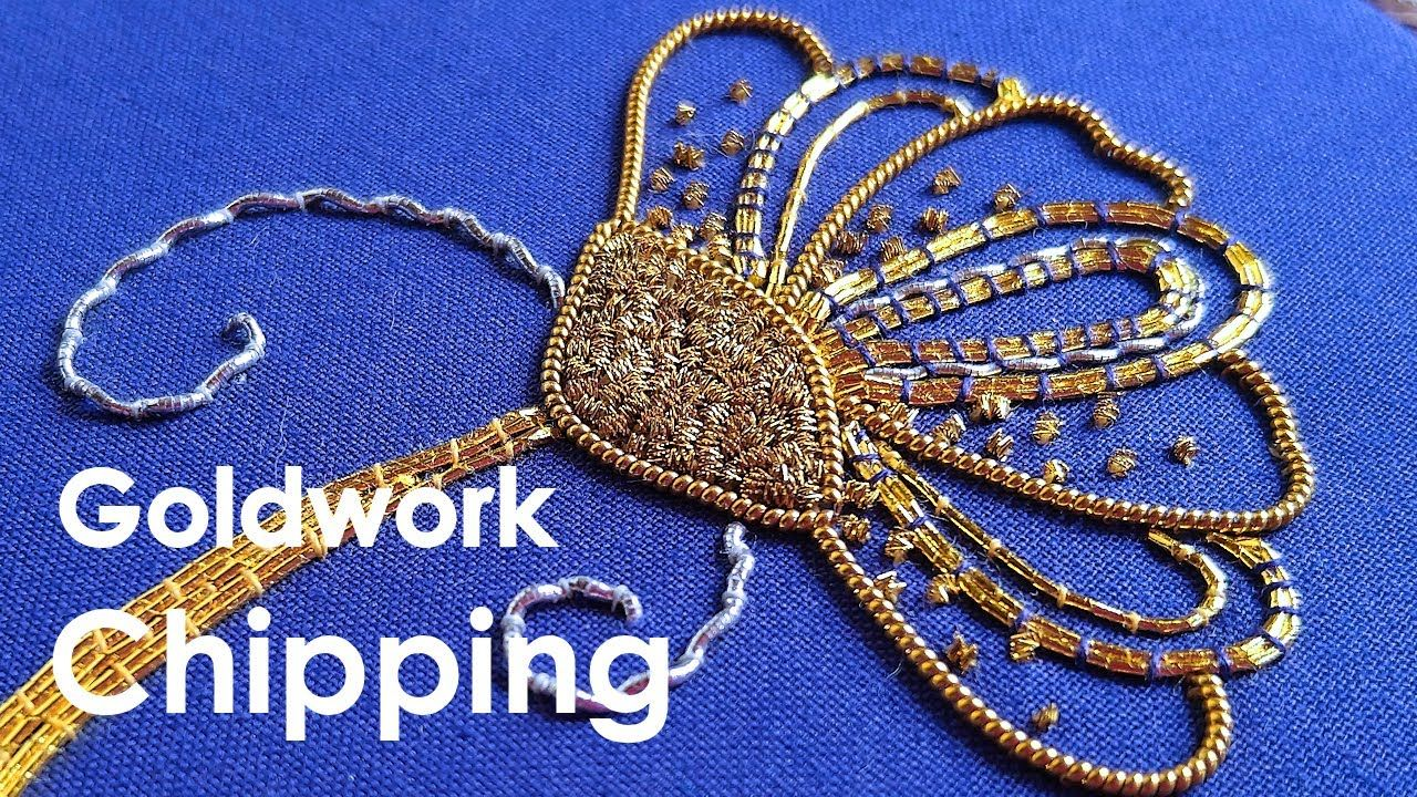 Bright Check Purl chips. Goldwork embroidery for beginners. Goldwork emb...