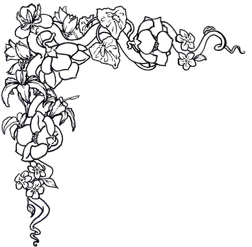 Flower Border Black And White Flower Clip Art Flower Border Clip Art Borders Flower Drawing Tutorials Easy Flower Drawings