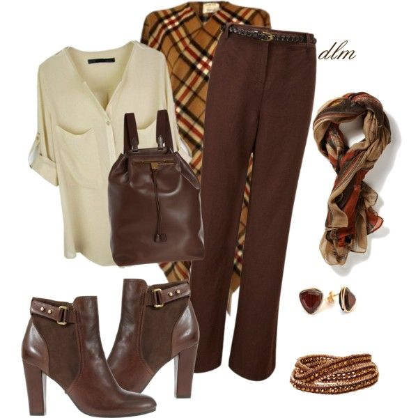 """""""Brown Plaid Poncho"""" by dmiddleton on Polyvore"""
