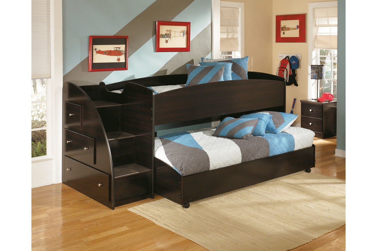 Embrace Kids Loft Bed With Caster And Left Steps Ashley Furniture Homestore Beds Twin