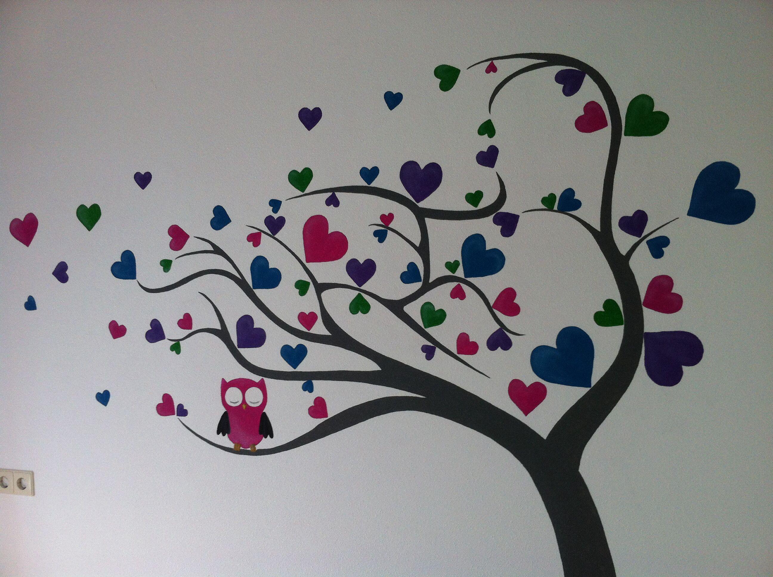 muurschildering boom met fleurige hartjes en uiltjes door, Deco ideeën