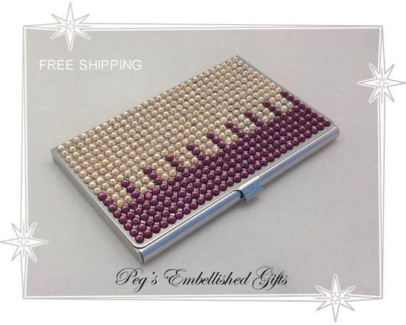 Rhinestone Business Card Case Swarovski Purple And Gold