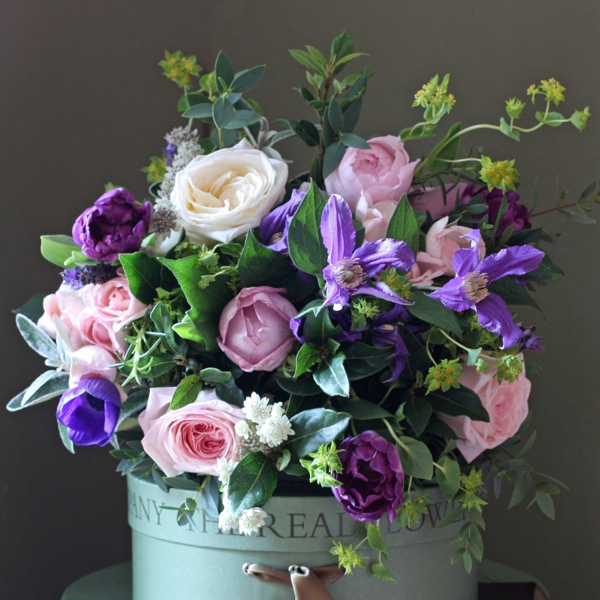 The Real Flower Company Purple Scented Spring Rose and