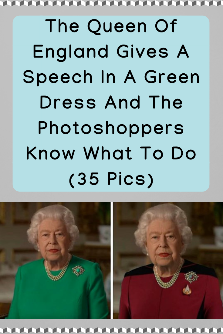 The Queen Of England Gives A Speech In A Green Dress And The Photoshoppers Know What To Do 35 Pics Queen Of England Green Dress Queen Green Screen [ 1102 x 735 Pixel ]