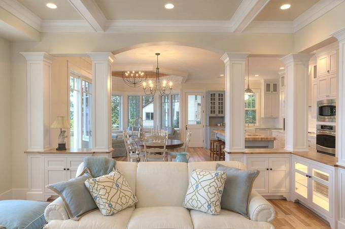 A great open floor plan with custom details on the ceiling - Columns in living room ideas ...