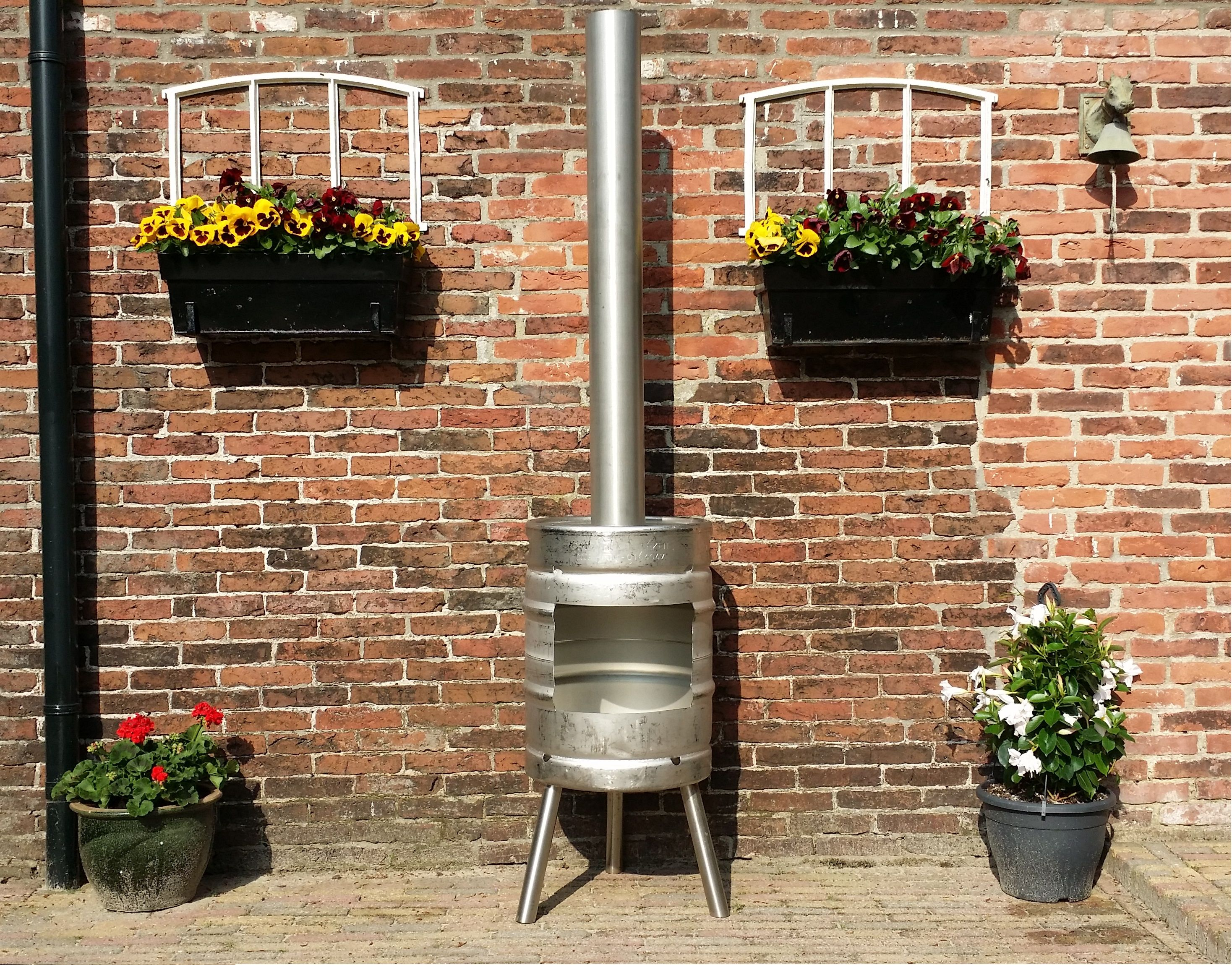 outdoor fire made from a beer keg wood stoves pinterest beer