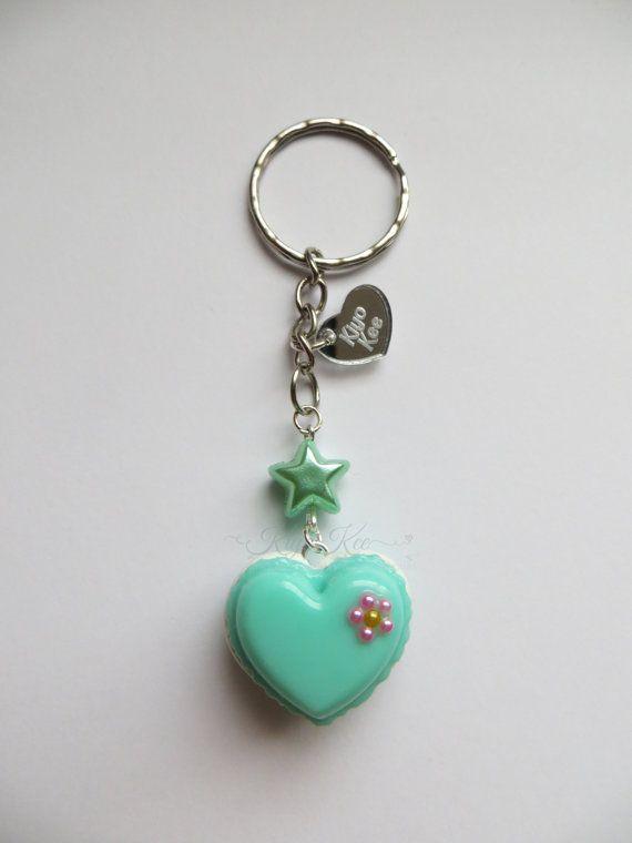 Green Heart Macaron Resin Keychain by KiyoKee on Etsy