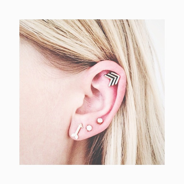 3rd holes and cartilage. Love the 1st hole earring and the ...