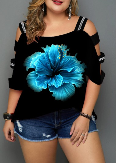 Photo of Plus Size Printed Ladder Sleeve Navy Blue Blouse | Rosewe.com – USD $30.20