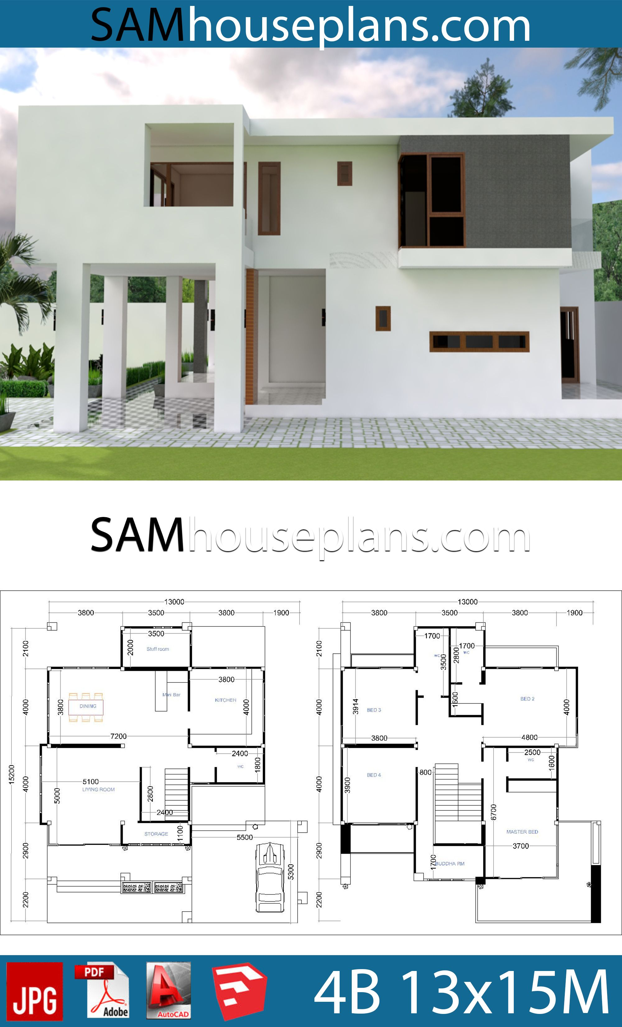 House Plans 13x15 With 4 Bedrooms House Plans Free Downloads Model House Plan 4 Bedroom House Plans Free House Plans