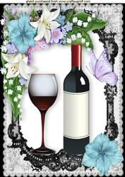 Lovely Wine With Glass In Black Lace Floral Frame A4