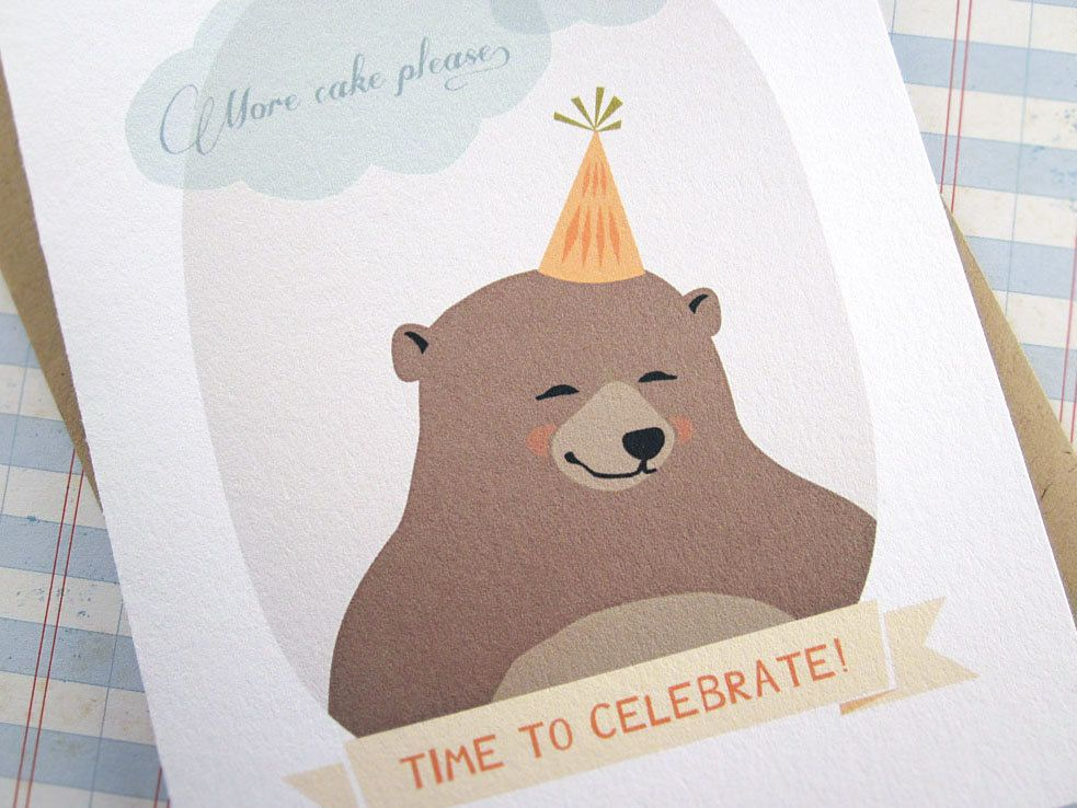 More Cake Please - Time To Celebrate - Party Bear Card. $4.00, via Etsy.