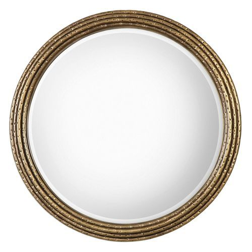 c16dd590cf4 Uttermost Spera Round Gold Wall Mirror - Give the gift of glimmering gold  with the Uttermost Spera Round Gold Wall Mirror featuring a unique stacked  forged ...