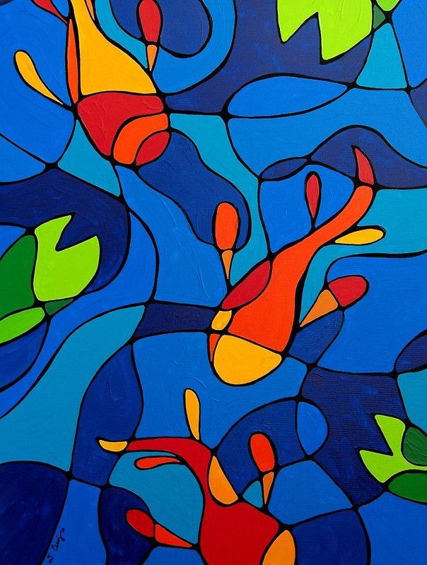 'Koi Joi - Blauer Koi-Teich-Orangenfisch-Kunstdruck' Kunstdruck von Sharon Cummings