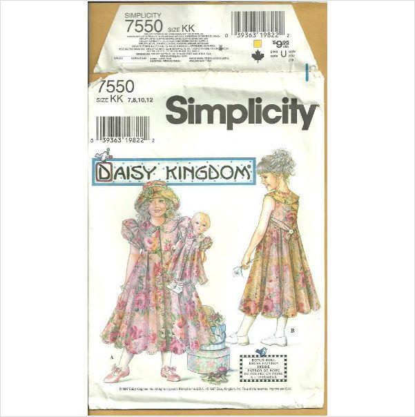 Simplicity 7550 Sewing Pattern Girls Dress Size 7 8 10 12 (& 17 ...