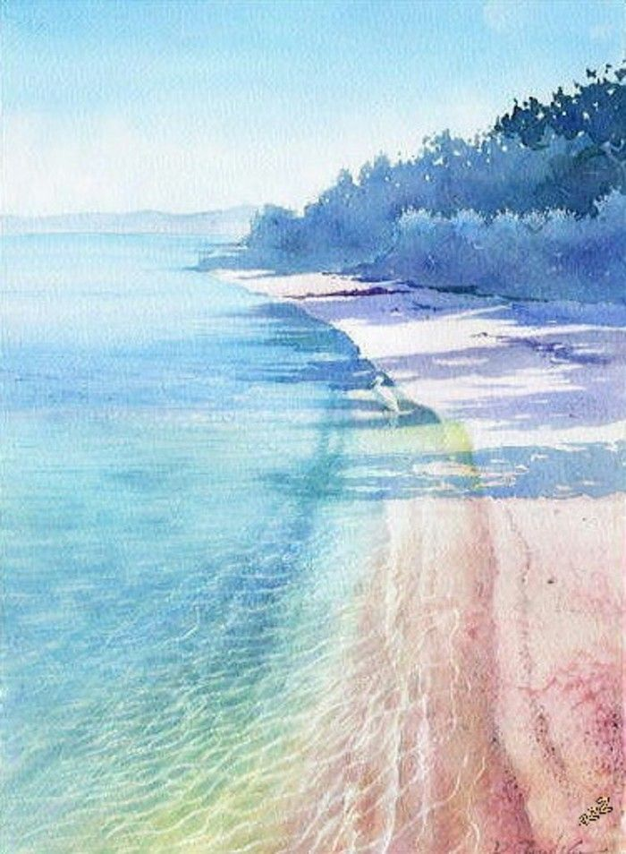 水彩 手绘 沙滩 海 Beach Watercolor Watercolor Ocean Watercolor