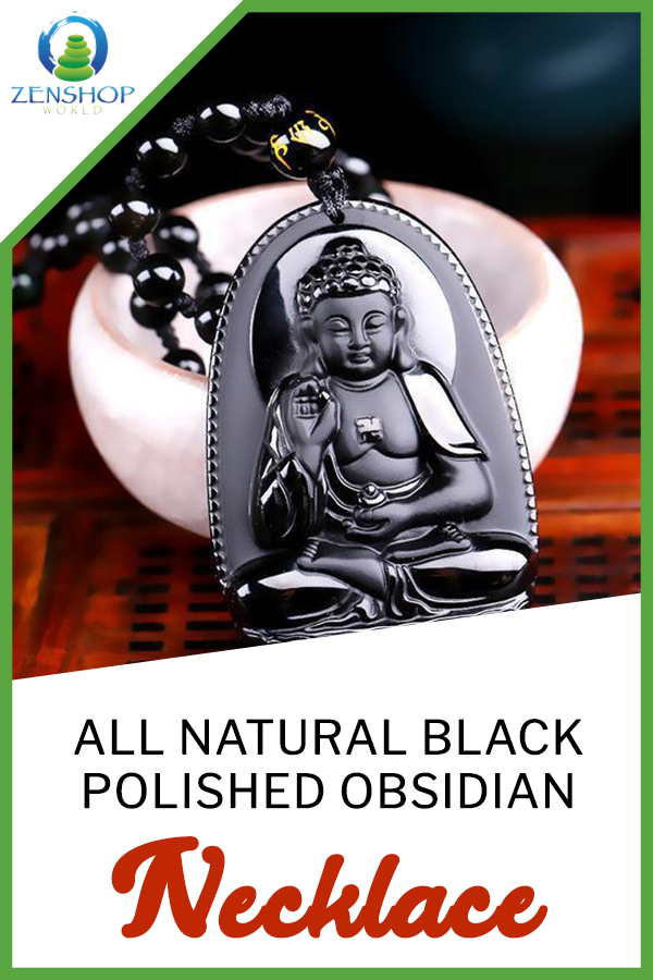 Photo of ALL NATURAL BLACK POLISHED OBSIDIAN CARVED BUDDHA