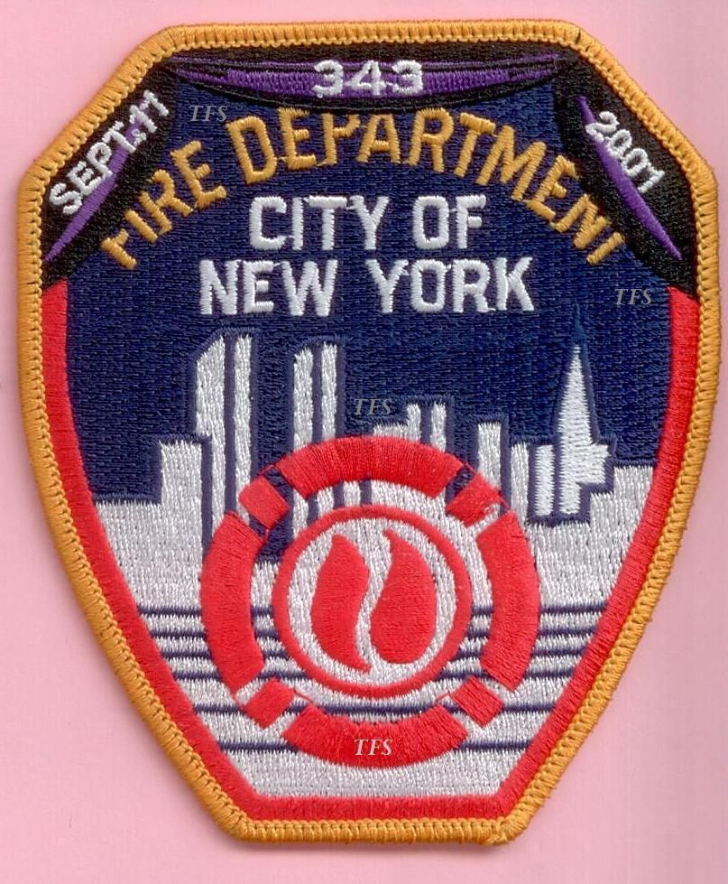 New york city fire dept shoulder patch with bunting 9 11 343 wtc