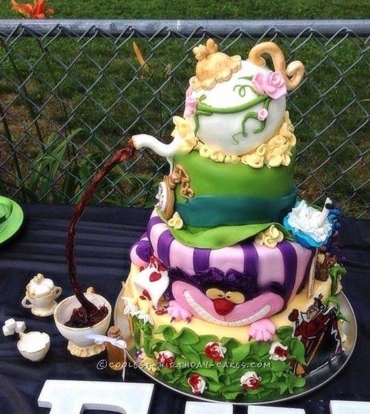 Lovely Coolest Alice In Wonderland Baby Shower Cake