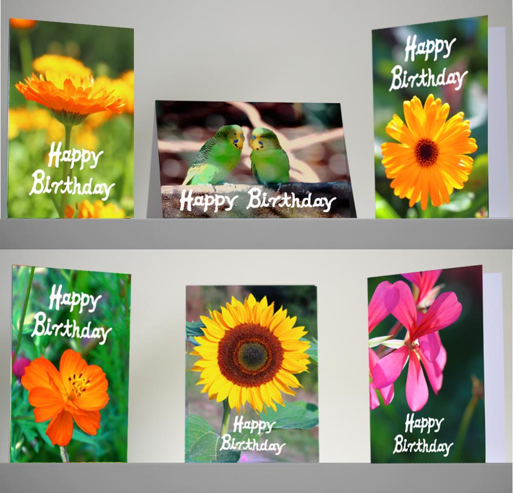 Cartes d'anniversaire set - les photos de fleurs - 5 cartes d'anniversaire différentes pour ...