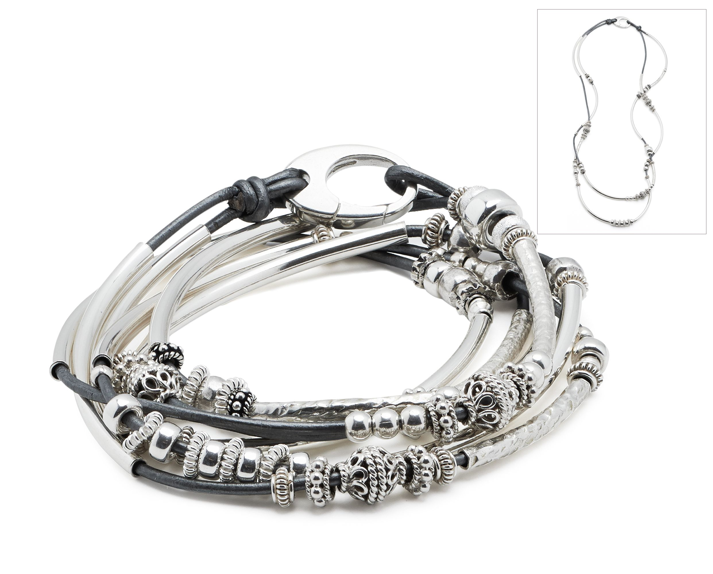 The Lizzy James Sterling Silver Sophia leather wrap bracelet in