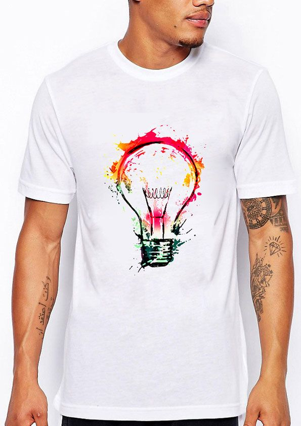 d4b04777 Light Bulb 3D T-shirts! New color Painted Bulb design Men's T-shirt. New  Cool Fashion Tops Short Sleeve 3D T-shirt for Men.