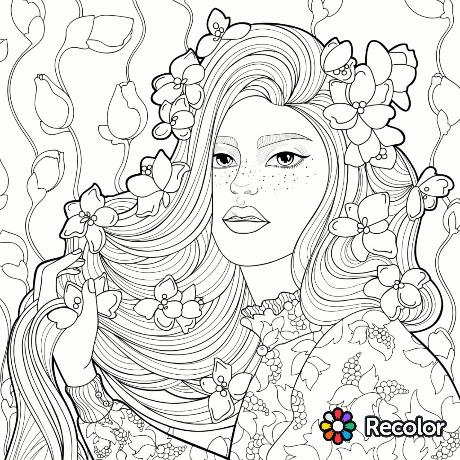 Girl With Flowers In Her Hair Coloring Page Adult Coloring Pages