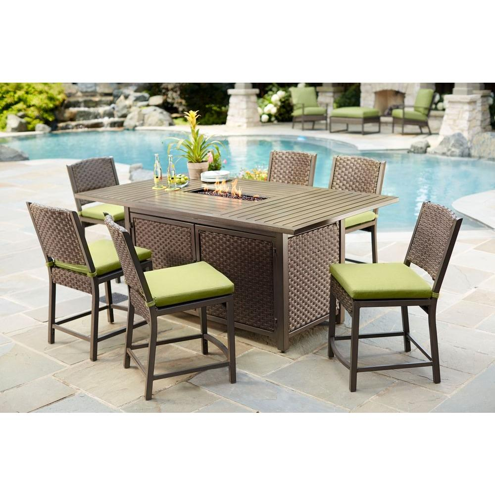 Hampton Bay Carol Stream 7 Piece Balcony High Patio Dining Set S7 Afl04112 The Home Depot Patio Dining Set Patio Furniture Patio Dining