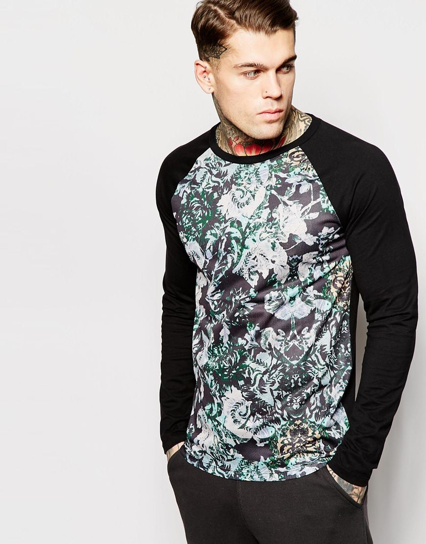c1e4aa538b5 ASOS Long Sleeve T-Shirt With Floral Mesh Panel