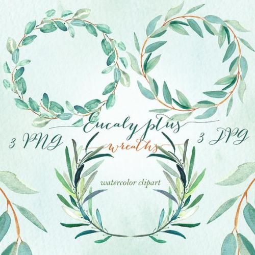 Photo of Buy Now Eucalyptus Wreaths Watercolor Clipart Hand Drawn ….